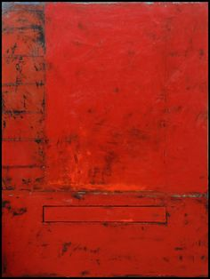 """Red Insert series, 2015  41 """" x 31 """" x 1.5 """"  Oil, beeswax and pigment on wood panel Available from SmithKlein Gallery, Boulder, CO"""
