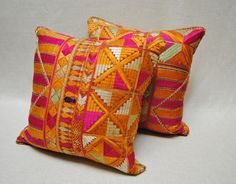 Colorful vintage Phulkari Bagh pillows from Punjab, India hand embroidered wedding shawl.  Maison Suzanne Gallery