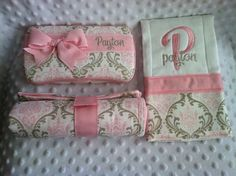 Custom Personalized Light Pink and Taupe Damask Name Embroidered Monogrammed Boutique Diaper Baby Wipes Case, Burp Cloths & Changing Pad Set on Etsy, $50.00