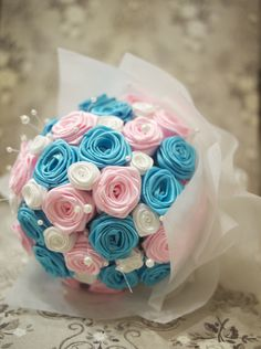 Check out my latest ribbon work: blue and pink bouquet + corsages & boutonnieres! http://www.shanobyl.com/2012/10/pink-and-blue-wedding-bouquet/