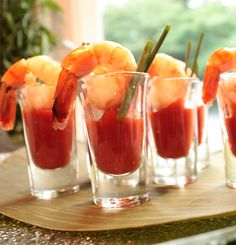 Bloody Mary Shrimp Shooters - What a different, neat thing to bring to a party! I am going to have to try this!