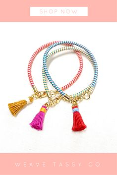 Multicolor Tiny Tassel Bracelets by @WeaveTassyCo | Looking for a multicolor thin bracelet gift for a special someone? This thin boho bracelet with tassel is perfect to make your special someone smile! Brighten up their day and their outfits with this cute but classy accessory. Click the image to see more.