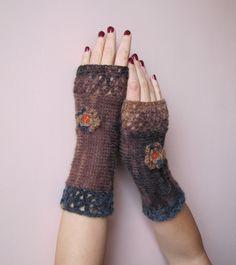 Feminine Crochet Fingerless Gloves in browns and by elfinhouse, $24.00