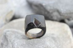 Druzy agate ring carved black gemstone all stone chunky unique hand made us 7.5    eBay