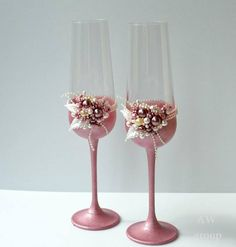 Rose gold Wedding glasses Personalized glasses Champagne