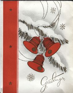 Vintage Christmas Card - Red Bells in the Snow