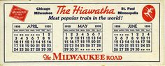 Vintage Hiawatha Train Calendar Card Milwaukee Road 1938 | eBay