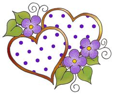"ArtbyJean - Love Hearts: POLKA DOT PATTERNS - Two Hearts in the ""Hearts with Blossoms"" design."