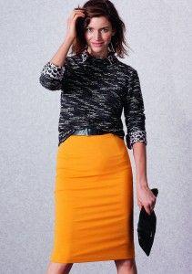 Yellow skirt, black sweater, animal print shirt Winter 2014 Baukjen Collection cocomamastyle Fall fashion AW14