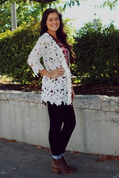 Floral Crochet Pattern Kimono – UOIOnline.com: Women's Clothing Boutique