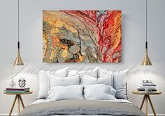 Print on Canvas Abstract Painting Red and Gold Colorful