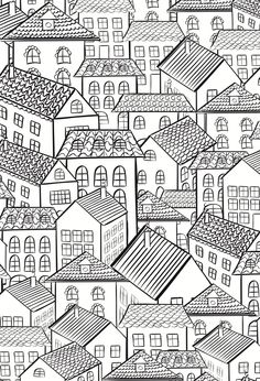 Houses - by The One and Only Colouring Book for Adults