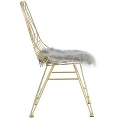 Gold Steel Chair Fluffy Grey Sheepskin Seat of 2
