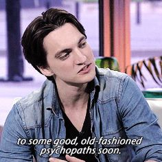 """""""How is that for you, to play a nice, normal guy?"""" """"Boring.  No, it's a lot of fun, but i honestly can't wait to get back to some good, old-fashioned psychopaths soon."""" 