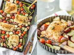 Sheet Pan Honey Mustard Crusted Salmon is the perfect healthy one pan meal! Made in under 30 minutes, skinny, and full of flavor. Oven baked salmon on a baking sheet with potatoes, tomatoes, and green beans! Salmon Recipes, Fish Recipes, Seafood Recipes, Seafood Meals, Snacks Recipes, Meal Recipes, Yummy Recipes, Healthy Food List, Healthy Pasta Recipes