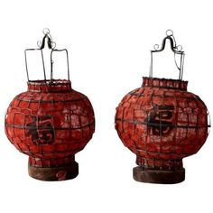 Vintage Chinese Red Lanterns - A Pair ($150) ❤ liked on Polyvore featuring home, home decor, decor, vintage home accessories, vintage lantern, red chinese lanterns and vintage home decor