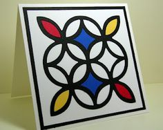 Stampin' Up! ... hand crafted card: Mondrian inspired ... Trellis die cut with random fill in primary colors ...