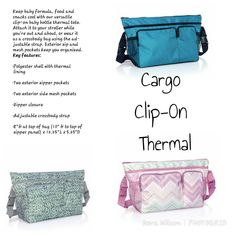 Cargo Clip-On Thermal Baby by Thirty-one Thirty One Logo, Thirty One Baby, Thirty One Games, Thirty One Thermal, Thirty One Purses, White Crossbody Bag, Crossbody Messenger Bag, Tote Bag, Thirty One Organization