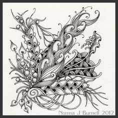 Micron pen and graphite on a Zentangle tile.