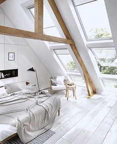 happy saturday! ☀️ the weather today is beautiful, we're heading to the beach later with our sweet puppy Nina (take a look at my insta stories for more fluff cuteness)☝wood beams, dope flooring and lots of light, this bedroom was designed by Dasha Maistat for @studiolente, found via @artsytecture __ get inspired, follow @interior.hunter ✨ __ #interior123 #interior125 #interior444 #interior4all #interiorinspo #interiorinspiration #interiørmagasinet #interiorstyling #passion4interior…