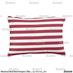 Nautical Bold Red Stripes | Mix and Match Outdoor Pillow
