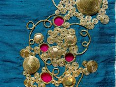 Gold Filigree Embroidery ~ by Grace Sheldrick Hand Work Embroidery, Types Of Embroidery, Gold Embroidery, Embroidery Patterns, Arabesque, Motif Paisley, Maggam Work Designs, Lesage, Gold Work