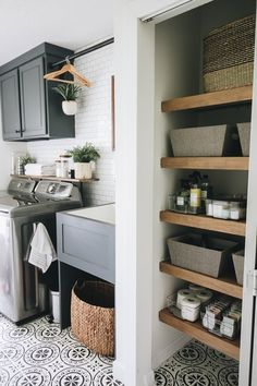 Creating a Beautiful and Efficient Laundry Room – Within the Grove – Home Diy Organizations Mudroom Laundry Room, Laundry Room Layouts, Laundry Room Remodel, Small Laundry Rooms, Farmhouse Laundry Room, Laundry Room Design, Laundry In Bathroom, Laundry Room Organization, Shelving In Laundry Room