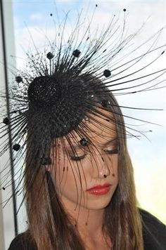 Striking and Stunning. Orbit is for the times when the world ought to be revolving around your incredible look. Pair with a sexy Little Black Dress, or go for a bright block colour to really stand out. This couture fascinator is hand crafted with over 300 individually sewn sequins, veiling and beads.