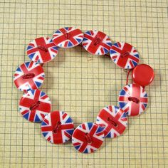 British Flag Button Bracelet Large by XOHandworks