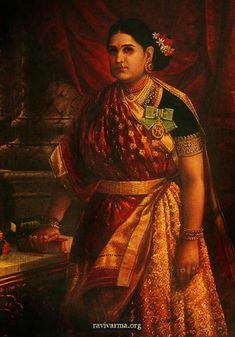 Rani Bharani Thirunal Lakshmi Bayi CI was the Senior Rani of Travancore. Painted by Raja Ravi Varma. Ravivarma Paintings, Famous Artists Paintings, Indian Paintings, Mural Painting, Raja Ravi Varma, Royal Family Pictures, Royal Indian, Indian Arts And Crafts, Vintage India