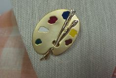 Vintage Brushed Gold Brooch and Enameled Pallet by shoponwebstreet