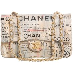 Chanel Limited Edition Graffiti Newspaper Print Double Flap Bag,... ($12,425) ❤ liked on Polyvore featuring bags, handbags, purses, chanel, chanel purse, pink purse, lamb leather handbags, man bag and pattern purse