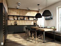Warszawa - Anin - Duża otwarta kuchnia w kształcie litery u, styl nowoczesny - zdjęcie od razoo-architekci