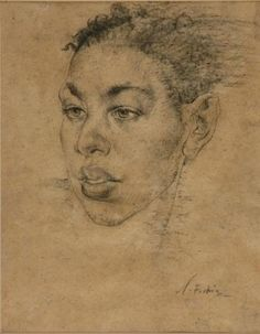 Artwork by Nicolai Fechin, PORTRAIT OF A YOUNG MAN, Made of Charcoal on brown flecked paper