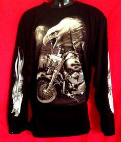 Motor Bike image Eagle long sleeve T-shirt black  cotton Live to Ride