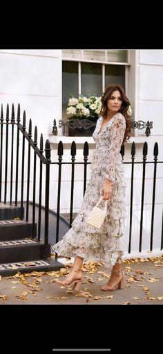Papillon Ruffle Dress – Anne Louise Boutique Wardrobe Lighting, Line Design, Chiffon Fabric, Ruffle Dress, Designer Dresses, Bodice, Floral Prints, Skirts, Model