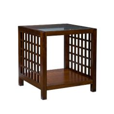 SEI Narita Espresso End Table by Southern Enterprises. $79.99. Energize your living room with this striking end table. With solid wood and glass construction, this modern espresso finished table would look lovely next to any sofa or chair. The table displays a chic lattice design on the sides, and features an extra storage shelf on the bottom of the table. This piece is sure to be a welcome addition to any room of your home.