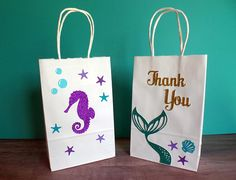 Under the Sea Party Favor Bags - Gift Bags - Mermaid Party - Party Favor - Treat Bags - Birthday Party Bags - Party Decorations