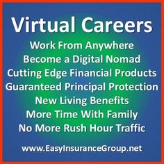 """Go Viral! Experience rapid growth and profits! Get the Perfect… #WorkFromHome #Career The SECRET is to give your clients the finical products that solve the problems we all face. #Entrepreneur Perfect for current business owners, insurance agencies, financial services firms, and all types of  #Entrepreneurs! Discover the magic of what going """"VIRTUAL"""" can do for you. #Mompreneur #WAHM #Business #DigitalNomad #Jobs CLICK HERE… http://www.easyinsurancegroup.com/p/virtual-agency-ownership.html"""