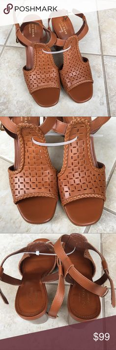 "Cole Haan Signature Elettra Leather Sandals New Without Box Women's Cole Haan Signature Elettra Leather Sandals  Retail Price $180  Size 7.5 Leather Imported Leather sole Heel measures approximately 3.75"" Platform measures approximately 0.75 inches Grand os technology Cole Haan Shoes Sandals"