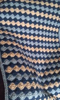catherine wheel stitch  blue afghan ~ free pattern