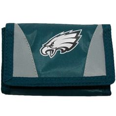 Let the football fan take his Philadelphia Eagles pride with him wherever he goes with this green-gray tri-fold wallet.