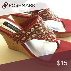 White house Black market wedges Red embellished wedges White House Black Market Shoes Wedges
