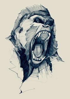 Wild Rage aka Wrath - gorilla t-shirt monkey tee ape tshirt illustration pencil simple minimal powerful aggressive drawing german illustrator hand drawn hand-drawn art artwork Art And Illustration, Illustrations Posters, Rage Art, Drawing Sketches, Art Drawings, Pen Sketch, Tattoo Sketches, Drawing Ideas, Art Design