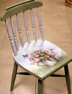 Adorable Little Chair--Decoupage Seat Decoupage Furniture, Funky Furniture, Refurbished Furniture, Repurposed Furniture, Shabby Chic Furniture, Kitchen Furniture, Office Furniture, Hand Painted Chairs, Hand Painted Furniture