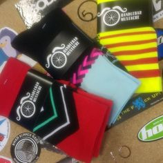 More international #sockdoping action. These three pairs are of to Denmark.  #brightenyourride #cycling #ridelots @hbstache