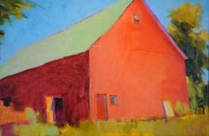 Rodger Bechtold Michigan b. 1945 Barn in Poppy Red