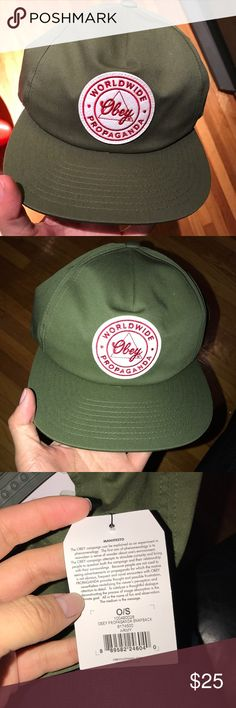 Obey Army Green Snapback Brand new in bag. Army color. Picture is taken with and without flash. Obey Accessories Hats