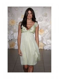 Elegant Green Chiffon Straps A-Line Mini Length Bridesmaid Dresses With Ruffles Embellishment Empire Waist Zipper Closure Free Shipping/Delivery [CP02241] - $150.00 : Crazeparty.com, Dare to be Different!