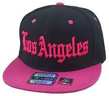"Cool Flat Bill Hats   DAMAGE Trendy Hip Cool Black/Pink ""Cali ""' Hat Snapback Flat Bill Cap"